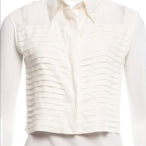 Vintage Chanel Linen Ruffle Blouse Top 38